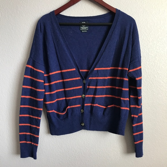 American Eagle Outfitters Sweaters - American eagle orange striped cardigan